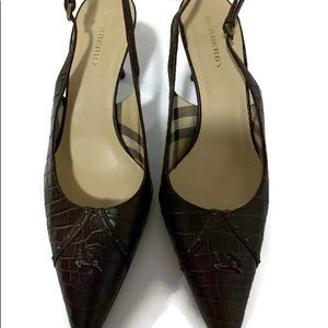 Burberry brown leather heels 8.5